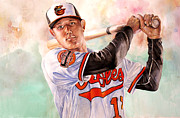 Mlb Metal Prints - Manny Machado Metal Print by Michael  Pattison