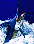 Sailfish Drawings Posters - Manny Marlin Poster by Karen Rhodes