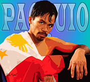 Boxing  Digital Art Framed Prints - Manny Pacquio Framed Print by John Keaton
