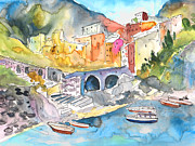Townscapes Drawings - Manorola in Italy 01 by Miki De Goodaboom