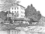 Grist Mill Drawings Posters - Mansfield Mill Poster by Robert A Powell