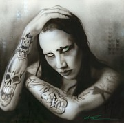 Surrealism Portrait Posters - Manson III Poster by Christian Chapman Art