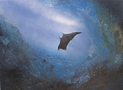 Fish Underwater Paintings - Manta in Sea Cave by Affordable Art Halsey
