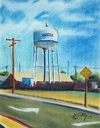 Downtown Pastels Originals - Manteca Tower by Michael Foltz