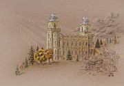 Hardy Drawings - Manti Utah LDS Temple by Pris Hardy