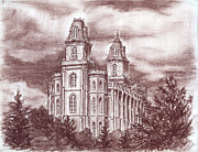Religious Art Drawings - Manti Utah LDS Temple by Shalece Elynne