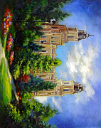 Lds Painting Originals - Manti Utah Temple-Pathway to Heaven by Marcia Johnson