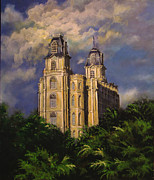 Lds Painting Originals - Manti UtahTemple Sentinel by Marcia Johnson