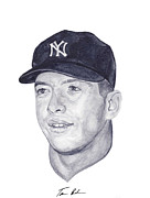 Yankees Painting Prints - Mantle Print by Tamir Barkan