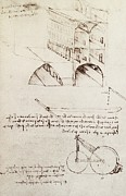 The Posters Prints - Manuscript B f 36 r Architectural studies development and sections of buildings in city with raise Print by Leonardo Da Vinci