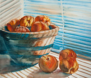 Featured Mixed Media Prints - Many Blind Peaches Print by Jani Freimann