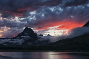Many Glacier Photos - Many Glacier Sunset by Mark Kiver