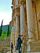 Library Digital Art - Many Photographers at Library of Celsus-Ephesus by Ruth Hager