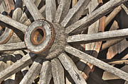 Many Wooden Wheels Print by Phyllis Denton