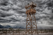 Storm Clouds Framed Prints - Manzanar Guard Tower Framed Print by Cat Connor