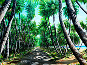 Coconut Trees Paintings - Manzanilla Coconut Estate by Karin Best