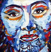 Maori Paintings - Maori Girl by Lisa Elley. Palette knife painting in oil by Lisa Elley