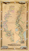 Water Drawings Prints - Map depicting plantations on the Mississippi River from Natchez to New Orleans Print by American School