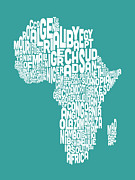 Word Map Posters - Map of Africa Map Text Art Poster by Michael Tompsett