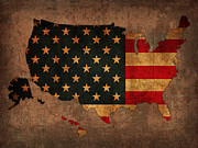 America Mixed Media Metal Prints - Map of America United States USA With Flag Art on Distressed Worn Canvas Metal Print by Design Turnpike