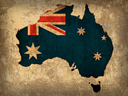 Map Of Australia Posters - Map of Australia With Flag Art on Distressed Worn Canvas Poster by Design Turnpike