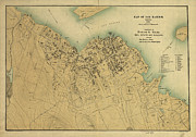 Lines Prints - Map of Bar Harbor Maine 1896 Print by Edward Fielding