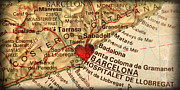 Espana Posters - Map of Barcelona Spain Espana Europe in a Antique Distressed Vin Poster by ELITE IMAGE photography By Chad McDermott