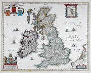 North Wales Mixed Media - Map of British Isles - 1665 by Hugo Allardt