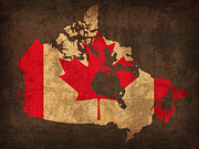 Canada Mixed Media Framed Prints - Map of Canada With Flag Art on Distressed Worn Canvas Framed Print by Design Turnpike