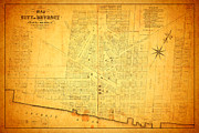 Rust Mixed Media Metal Prints - Map of Detroit Michigan c 1835 Metal Print by Design Turnpike