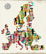 Watercolor Map Mixed Media - Map Of Europe by Brian Buckley