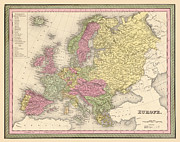 Antique Map Digital Art Metal Prints - Map of Europe Metal Print by Gary Grayson