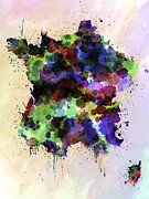Vintage Map Digital Art - Map of France in watercolor style splash by Pablo Romero