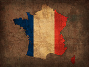 France Mixed Media Metal Prints - Map of France With Flag Art on Distressed Worn Canvas Metal Print by Design Turnpike