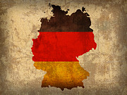 Map Art Mixed Media Prints - Map of Germany With Flag Art on Distressed Worn Canvas Print by Design Turnpike