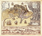 Technical Photo Prints - Map Of Gibraltar Xviiiith C.. Etching Print by Everett