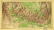 Old Map Paintings - Map of Grand Canyon National Park by MotionAge Art and Design - Ahmet Asar