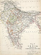 Hand Drawings Metal Prints - Map of India Metal Print by Alexander Keith Johnson