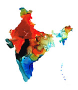 India Mixed Media Prints - Map of India by Sharon Cummings Print by Sharon Cummings