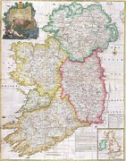Europe Drawings Framed Prints - Map of Ireland  1794 Framed Print by Pg Reproductions