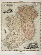Country Drawings Posters - Map of Ireland Poster by C Montague