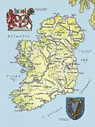 Shield Drawings Posters - Map of Ireland Poster by English School
