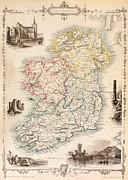 Old Map Drawings Prints - Map of Ireland from The History of Ireland by Thomas Wright Print by English School