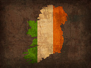 Map Art Mixed Media Prints - Map of Ireland With Flag Art on Distressed Worn Canvas Print by Design Turnpike