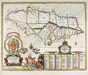 Jamaica Mixed Media Posters - Map of Jamaica - 1672 Poster by Charles Ross