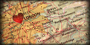 Great Britain Map Posters - Map of London England Great Britain Europe in a Antique Distress Poster by ELITE IMAGE photography By Chad McDermott