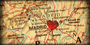 Espana Posters - Map of Madrid Spain Espana Europe in a Antique Distressed Vintag Poster by ELITE IMAGE photography By Chad McDermott