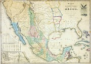 Making Mixed Media Framed Prints - Map of Mexico - 1847 Framed Print by Pg Reproductions