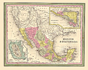 Antique Map Digital Art Metal Prints - Map of Mexico Metal Print by Gary Grayson