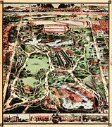 Vintage Map Paintings - Map of New York Citys Central Park 1860 by MotionAge Art and Design - Ahmet Asar